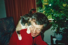 Daisy and Dad, Greenbank, July 1990