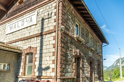 Abandoned station building on Arlberg railway (Austria)