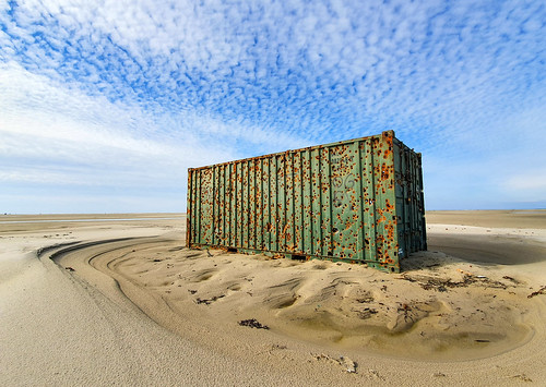 Heavily damaged container, used as target for excercising air force, Vliehors, Vlieland, Netherlands