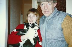 Dad, Alison, Bhaji and Bhuna, Dec 1990