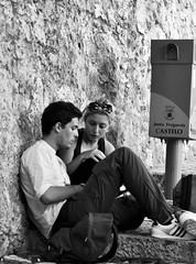 Tourist Couple evaluating the next visit steps