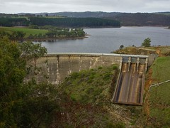 Myponga. Just a few kilometres from the town is the Myponga reservoir. The dam wall. Built in the early 1960s.