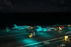 USS Ronald Reagan (CVN 76) conducts night flight operations.
