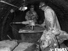 Workers in Ravenna sewer tunnel, 1958