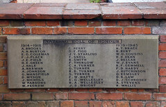 All Saints Church, Nazeing, Essex, England ~ war plaque next to lychgate