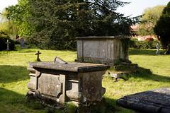 All Saints Church churchyard chest tombs at High Laver Essex England