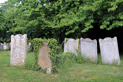 Church of Ss Mary & Lawrence - churchyard gravestones at north-west
