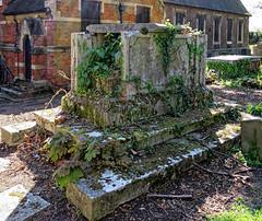 All Hallows Church Tottenham London England - churchyard chest tomb overgrown 12
