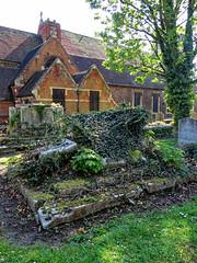 All Hallows Church Tottenham London England - churchyard chest tomb overgrown 11