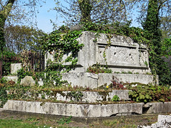 All Hallows Church Tottenham London England - churchyard chest tomb overgrown 5