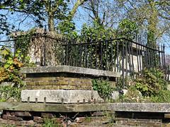 All Hallows Church Tottenham London England - churchyard chest tomb overgrown 4