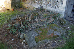 Arkesden Church of St Mary churchyard broken tomb, Essex, England