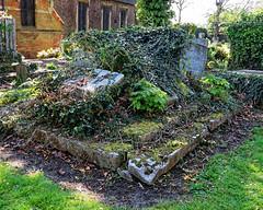 All Hallows Church Tottenham London England - churchyard chest tomb overgrown 10