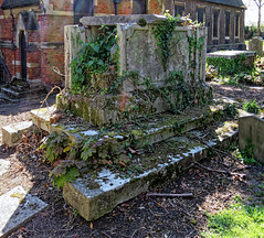 All Hallows Church Tottenham London England - churchyard chest tomb overgrown 13