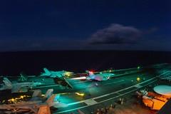 An F/A-18E Super Hornet launches from USS Ronald Reagan (CVN 76).