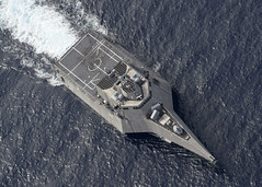 USS Gabrielle Giffords (LCS 10) conducts routine operations in the South China Sea.