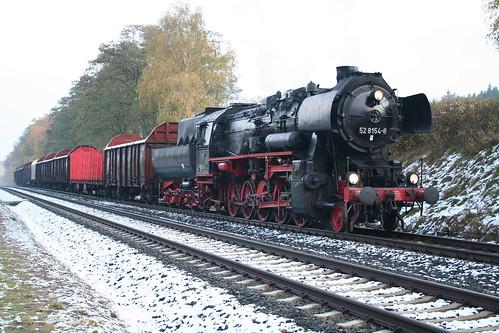 2008-10-31; 0013. Loc 52 8154-8 met WEG 30, ex Railion 55189. Marksuhl. Plandampf 2008, Dampf trift Kies.
