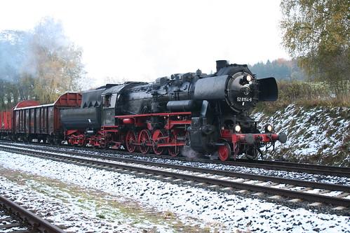 2008-10-31; 0014. Loc 52 8154-8 met WEG 30, ex Railion 55189. Marksuhl. Plandampf 2008, Dampf trift Kies.