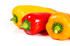 Fresh multicolored bell peppers on a white background