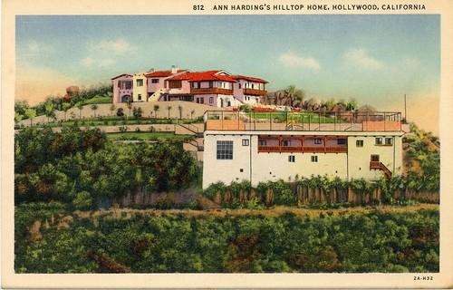Ann Harding's Hilltop Home Hollywood California Vintage Postcard