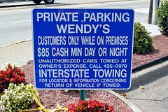Parking sign at Wendy's