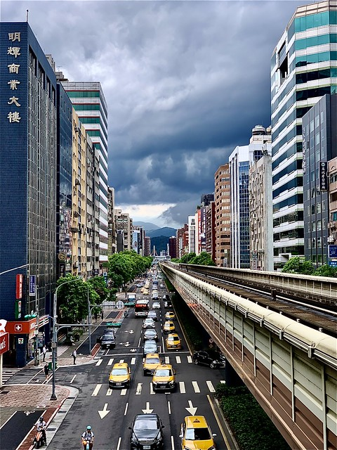 Cloudy Taipei city & MRT line.