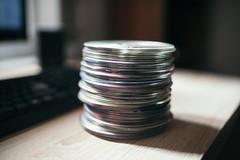 Group of compact disc closeup.