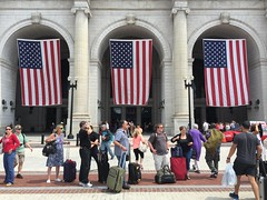 Washington DC Union Station American Flags