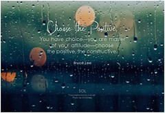 Bruce Lee Choose the positive. — You have choice — you are master of your attitude — choose the positive, the constructive