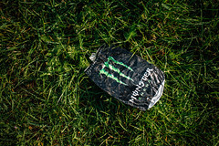 Crushed enegry drink can, trash left in the nature