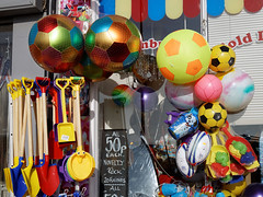 Balls and beach toys at Margate Kent England 1