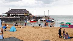 Viking Bay beach and boat jetty at Broadstairs, Kent, England 1