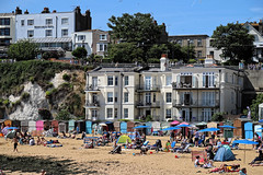 Balconies and beach huts at Broadstairs, Kent, England