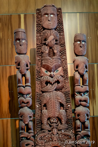 One of the spectacular wooden Maori carvings at the museum