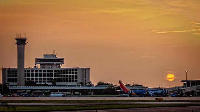 Hazy Airport Sunset