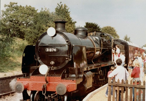 """SR Maunsell N Class 2-6-0 31874 """"Brian Fisk"""" Ropley July 1980"""
