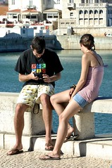 Tourist couple travelling, relaxing and photographing