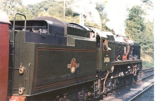 """Bulleid West Country Pacific 34016 """"Bodmin"""" at Alresford July 1980"""
