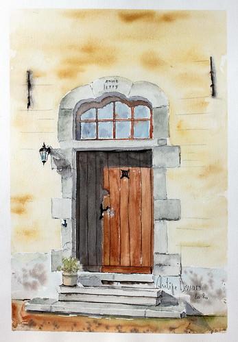 Porche d'une vielle maison à Bourseigne Neuve