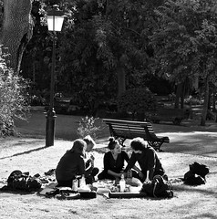 Two couples eating at the garden