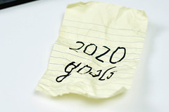 A crumpled piece of paper with words - 2020 goals. Covid-19 destroyed plans for 2020 concept
