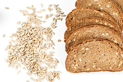 Slices of brown bread with sunflower seeds