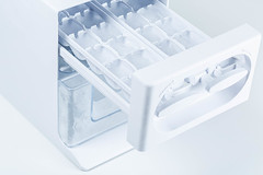 Frozen ice in a plastic container