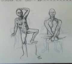A couple of my 10 minute graphite pencil drawings of Kent Artmodel on his Zoom Life Drawing session this afternoon from Kansas City, Missouri. 7/5/2020.