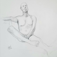 My 30 minute graphite pencil drawings of Kent Artmodel on his Zoom Life Drawing session this afternoon from Kansas City, Missouri. 7/5/2020.