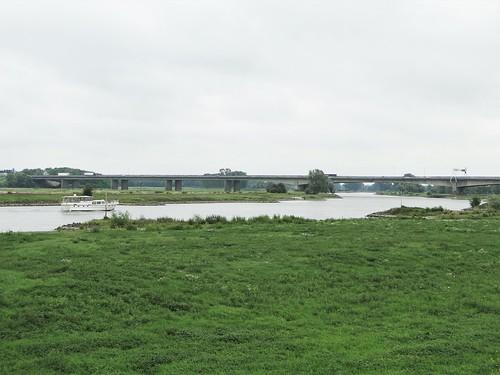IJssel river and bridge of the A1 motorway