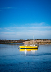 A yellow Boat on Morro Bay