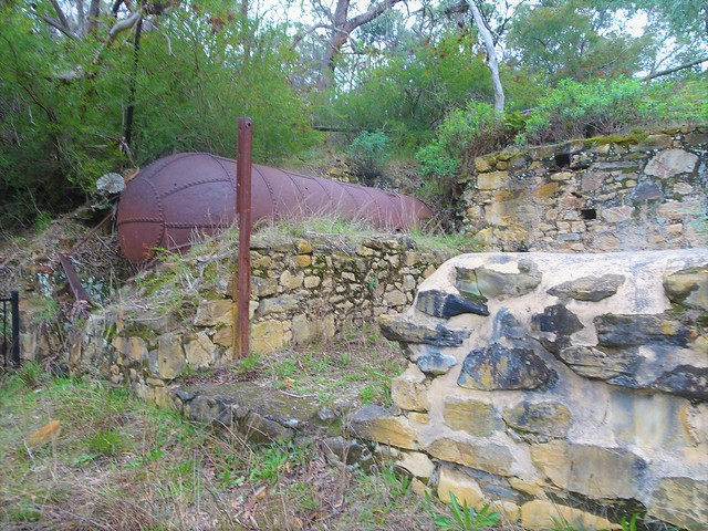 Photo:Talisker silver mine. Near Cape Jervis. This  boiler held water from the main shaft and was used in the Enginehouse. Next to it was the crushing plant.. Built around 1863.  The mine closed in 1872. . By denisbin