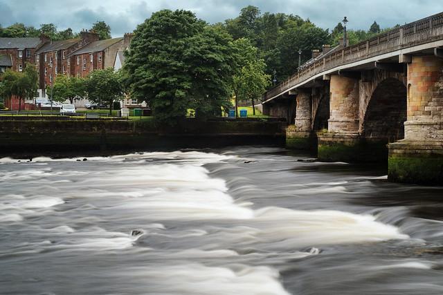 River Leven and Dumbarton Bridge in the Rain