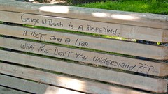 Political graffiti on a bench